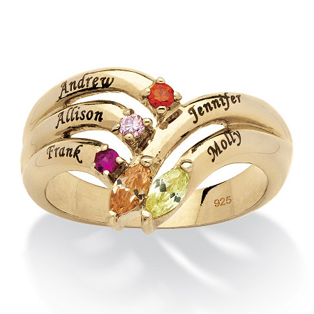 Personalized Birthstone Round and Marquise-Cut Family Ring in 18k Gold over Sterling Silver