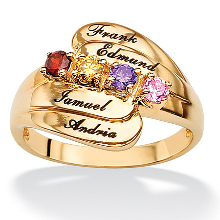 18k Gold over Sterling Silver Personalized Round Birthstone Family Ring