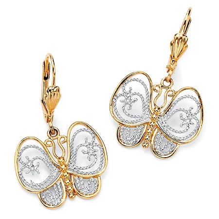 18k Yellow Gold-Plated Two-Tone Filigree Butterfly Drop Earrings