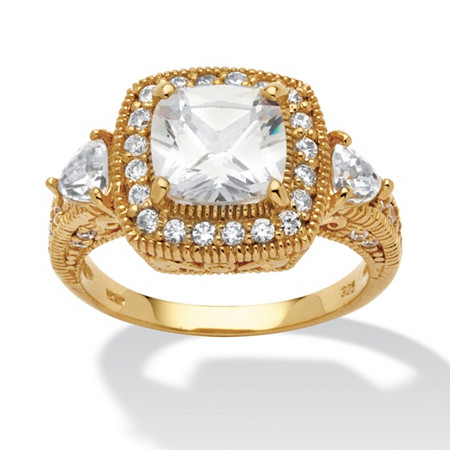 2.58 TCW Cushion-Cut and Trilliant-Cut Cubic Zirconia 18k Yellow Gold over Sterling Silver Ring