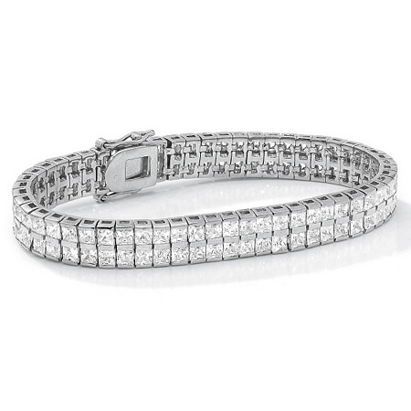 6 TCW Princess-Cut Cubic Zirconia Silvertone Double-Row Tennis Bracelet 7 1/4