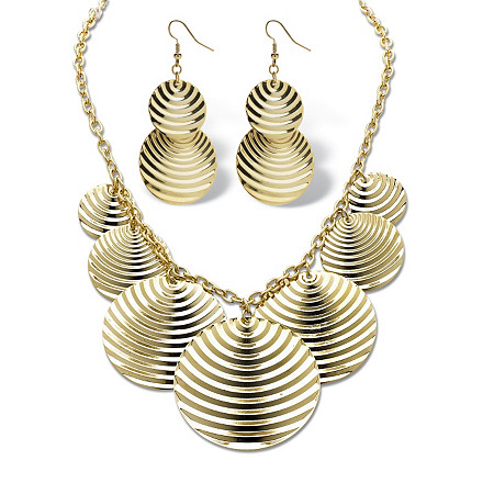 2 Piece Textured Multi-Disk Bib Necklace 16 and Drop Earrings Set in Yellow Gold Tone