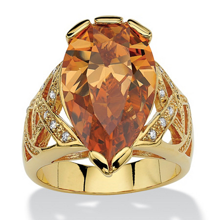 14.77 TCW Pear-Shaped Champagne-Colored Cubic Zirconia 18k Gold-Plated Ring