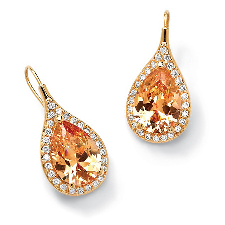 11.60 TCW Pear Cut Champagne/White Cubic Zirconia 18k Gold-Plated Drop Earrings