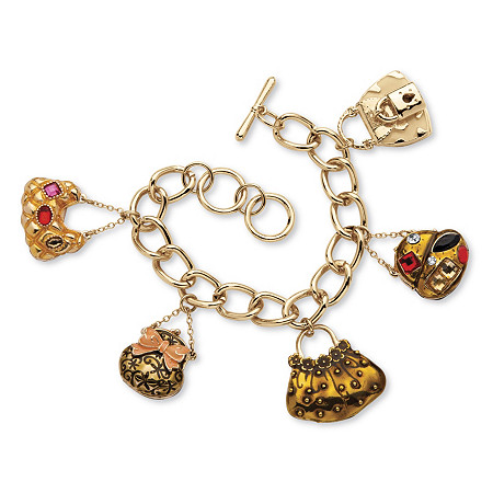 Crystal Handbag Heaven Charm Bracelet in Enamel and Yellow Gold Tone