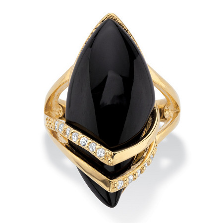 Marquise-Shaped Genuine Onyx with Cubic Zirconia Accents 18k Gold-Plated Ring