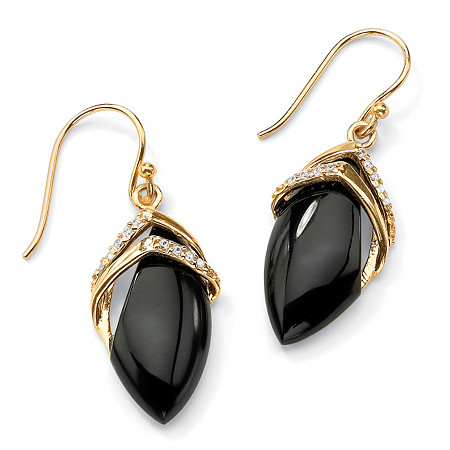 Marquise-Shaped Genuine Onyx Cubic Zirconia Accent 18k Gold-Plated Drop Earrings