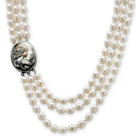 Genuine Cultured Freshwater Pearl and Black Mother-Of-Pearl Cameo Triple-Strand Necklace 28