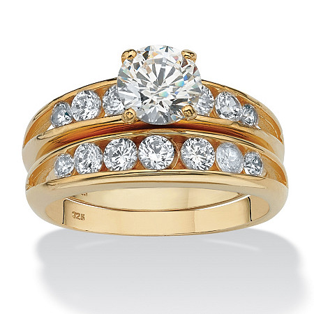 2 Piece 2.55 TCW Round Cubic Zirconia Bridal Ring Set in 18k Yellow Gold Over Sterling Silver