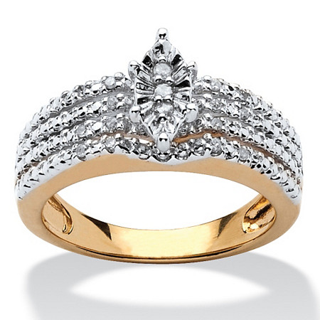 1/10 TCW Diamond 18k Yellow Gold Over Sterling Silver Marquise-Shaped Engagement Anniversary Ring