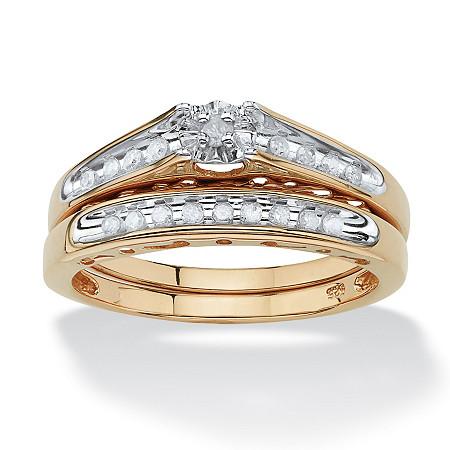 1/5 TCW Round Diamond 18k Gold over Sterling Silver Bridal Engagement Cutout Ring Set