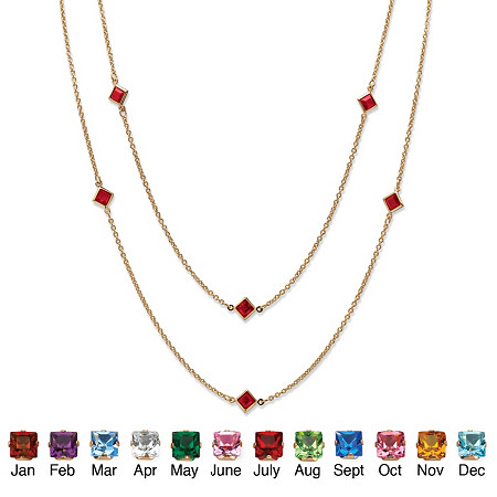 Princess-Cut Simulated Birthstone Station Necklace in Yellow Gold Tone 48