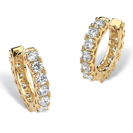 2.40 TCW Round Cubic Zirconia 14k Gold-Plated Eternity Huggie-Style Hoop Earrings