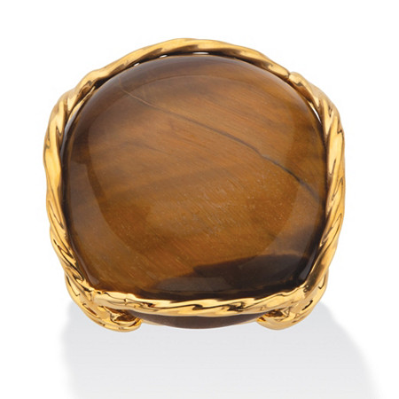 Cabochon-Shaped Genuine Tiger's Eye 14k Gold-Plated Twisted Channel-Set Pillow Ring