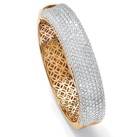 11.55 TCW Round Cubic Zirconia 14k Yellow Gold-Plated Pave Bangle Bracelet 7
