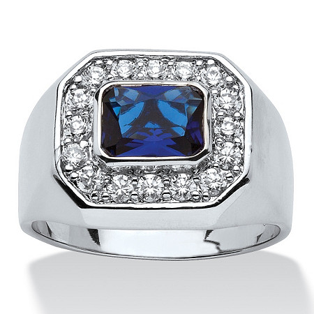Men's .52 TCW Cubic Zirconia Accent Blue Glass Silvertone Octagon Shaped Ring