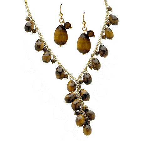 2 Piece Genuine Tiger's Eye Beaded Y Necklace and Earrings Set in Yellow Gold Tone