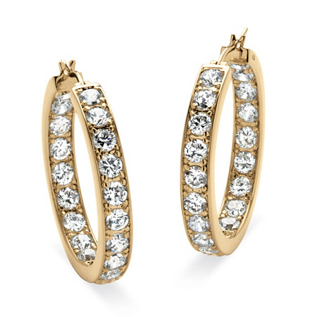 9.50 TCW Round Cubic Zirconia 14k Yellow Gold-Plated Inside-Out Hoop Earrings