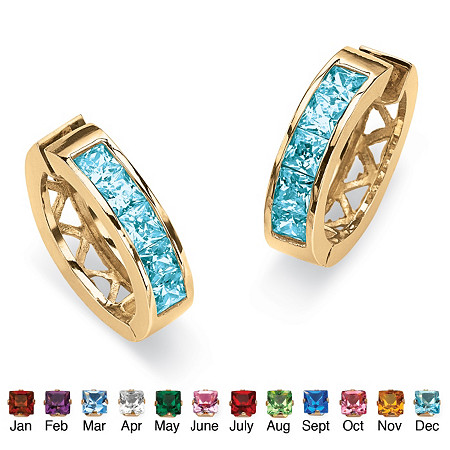 Channel-Set Simulated Birthstone 18k Yellow Gold-Plated Huggie-Hoop Earrings