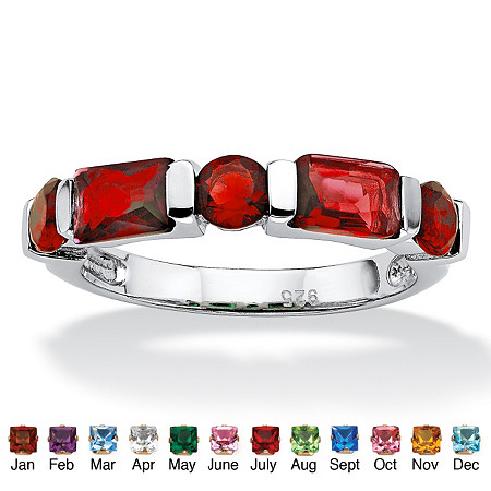 Emerald-Cut and Round Simulated Birthstone Sterling Silver Channel-Set Ring
