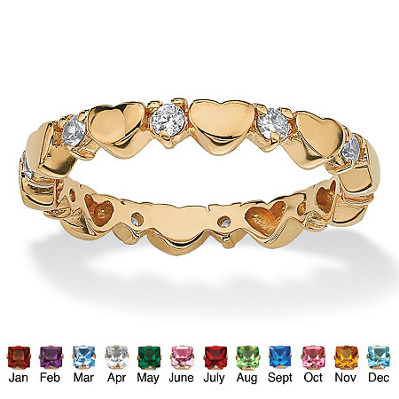 Round Simulated Birthstone 18k Yellow Gold-Plated Heart Eternity Stack Ring
