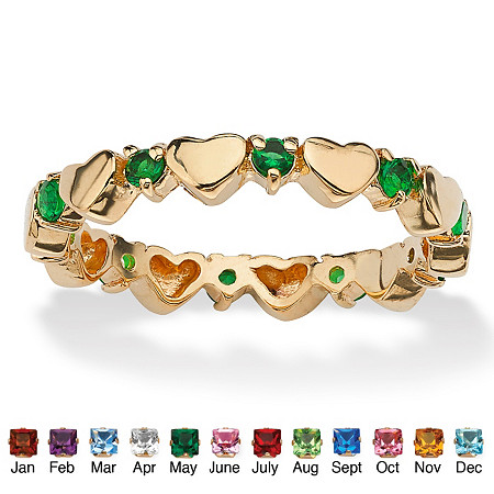 Round Simulated Birthstone 18k Gold-Plated Heart Eternity Stack Ring