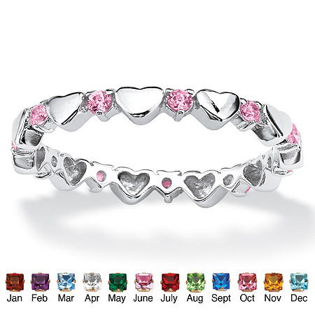 Round Simulated Birthstone Sterling Silver Heart Eternity Band Stack Ring
