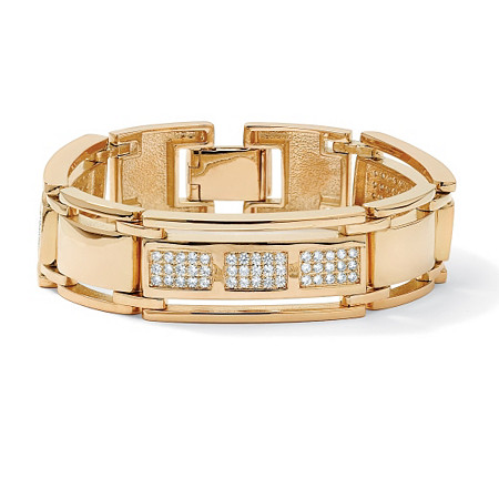 Men's 4.50 TCW Round Cubic Zirconia 14k Yellow Gold-Plated Bar-Link Bracelet 8 1/2