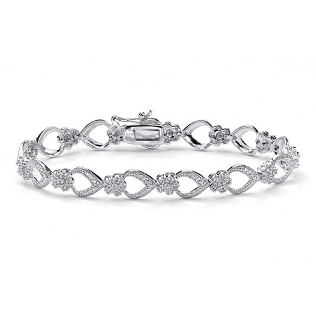.42 TCW Round Diamond Platinum over Sterling Silver Flower-Link Bracelet 7 1/4