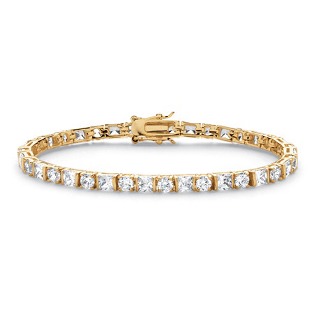 12.40 TCW Round and Princess-Cut Cubic Zirconia 14k Gold-Plated Tennis Bracelet 7 1/4