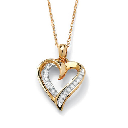 1/10 TCW Round Diamond Heart Pendant Necklace in 10k Gold