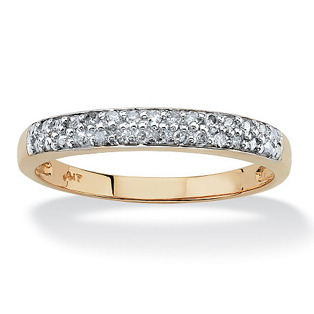 Diamond Accent 10k Yellow Gold Double Row Ring