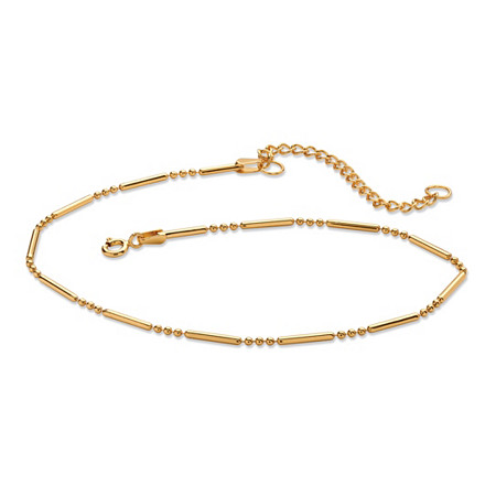 18k Gold over Sterling Silver Bar and Bead Link Ankle Bracelet 11