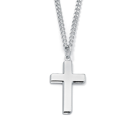 Men's Sterling Silver Cross Pendant and Stainless Steel Chain 24