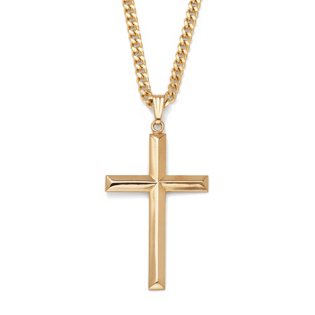 Cross Pendant iGold Filled and Gold Ion Plated Chain 24