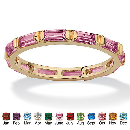 Baguette-Cut Birthstone 14k Gold-Plated Eternity Band Stack Ring