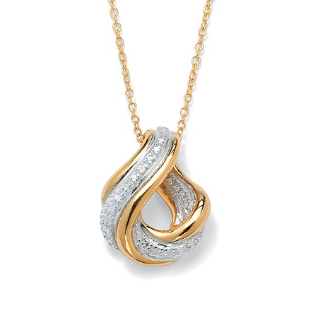 Diamond Accent 18k Yellow Gold Over Sterling Silver Swirled Eternity Drop Pendant and Chain 18
