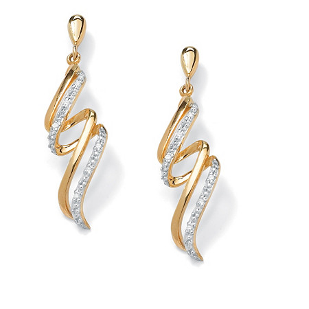 Diamond Accent 18k Yellow Gold Over Sterling Silver Curled Ribbon Drop Earrings