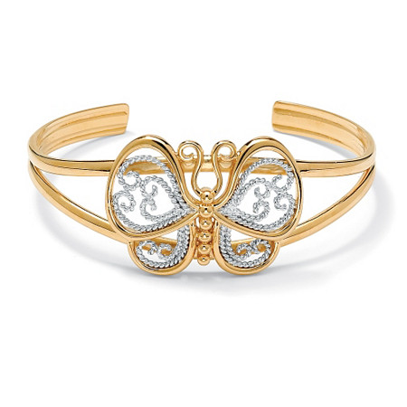 18k Yellow Gold-Plated Filigree Butterfly Cuff Bracelet 6 1/2