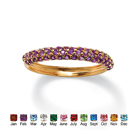 Round Simulated Birthstone 18k Gold-Plated Stackable Cluster Ring