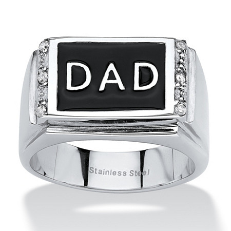 Men's Round Crystal Stainless Steel Black Enamel Finish Dad Ring