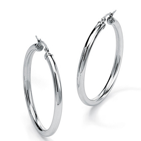 Stainless Steel Tubular Hoop Earrings 2 3/4 Diameter