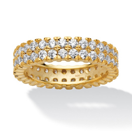 2.11 TCW Round Cubic Zirconia 18k Gold over Sterling Silver Double Row Eternity Band