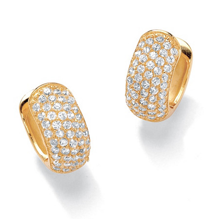 1.37 TCW Round Cubic Zirconia 18k Gold-Plated Five-Row Huggie-Style Hoop Earrings