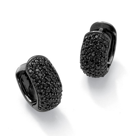 1.37 TCW Black Cubic Zirconia Black Rhodium-Plated Huggie-Style Hoop Earrings