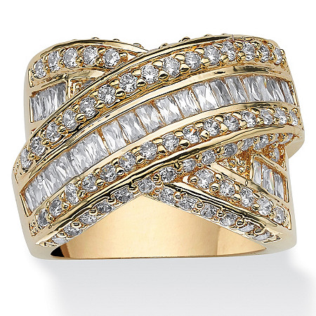 3.64 TCW Baguette Cut Cubic Zirconia 14k Yellow Gold-Plated Crossover Ring