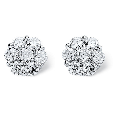 2.80 TCW Round Cubic Zirconia Platinum over Sterling Silver Stud Earrings