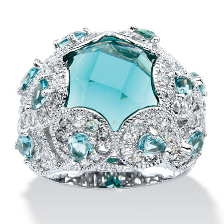 Round Aquamarine-Color Glass Cubic Zirconia Accent Silvertone Cocktail Ring