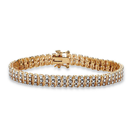 Diamond Accented S-Link Tennis Bracelet 14k Gold-Plated 8