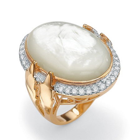 .60 TCW Cubic Zirconia and Bezel-Set Oval-Shaped Genuine Mother-of-Pearl 14k Yellow Gold-Plated Ring